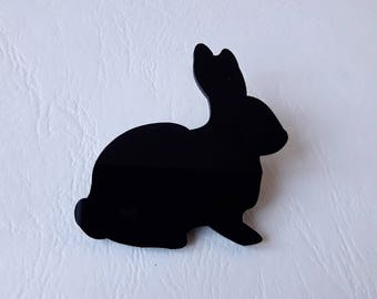 ♥ ♥ ♥ Black rabbit brooch
