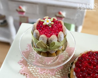 MTO-Red Currant Charlotte - French Pastry - Miniature Food in 12th Scale for Dollhouse