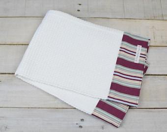 Kitchen Towel, Hand Towel, Tea Towel, Waffle Weave Towel, Dish Towel, Kitchen Hand Towel-Purple Stripe