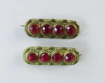 Set of Two Art Deco geometric brooches with cherry red rhinestones