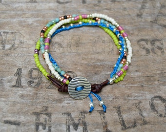 4 Strand Seed Bead Bracelet. Crochet . Sterling Button. Boho. Sterling . Leather . Glass . Wedding Gift .Bracelet.