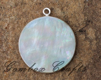 Natural Mother of Pearl 28mm Round Smooth 925 Sterling Silver Plated Bezel Pendant