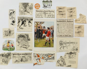 Vintage paper pack, Football, Cricket, Swimming, Tennis, Fun and Games, themed paper ephemera pack, crafting supplies