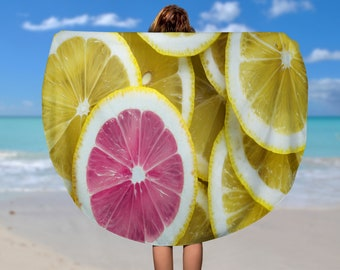 Round Beach Towel Food, Lemon Beach Towel  Beach Blanket, Circle beach Towel,60 inch round towel,Circle Towel, Vitamin Sea Beach Towel