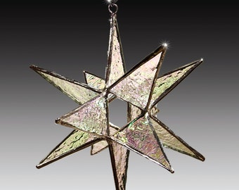 """Stained Glass Moravian Star -Home Decor - Choose Your Color - 4.5"""""""