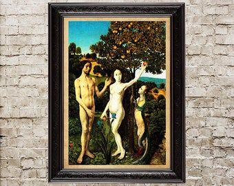The Fall into sin, serpent tempter, Adam, Eve, Renaissance,  Renaissance decor, Renaissance picture, damned, apple, tree of knowledge, 151