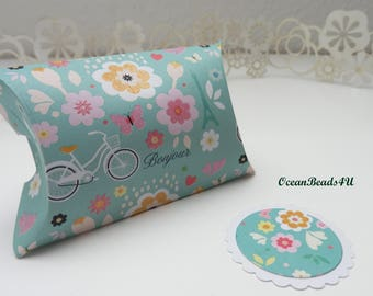 12 Light Green Pillow Boxes with Flowers + Gift Tags,  Candy Box, Favor Box, Gift Box