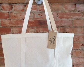 Canvas Carry All bag.  Designed and sewn in Colorado.  So many uses - Market Bag, School Bag, Diaper Bag, Gym Bag, All Around Bag.