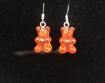 Red gummy bear resin charm 925 hook earrings jelly baby