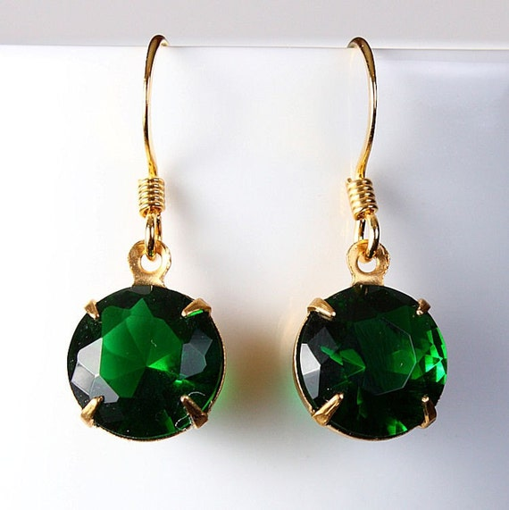 Estate style green glass earrings READY to Ship (208)