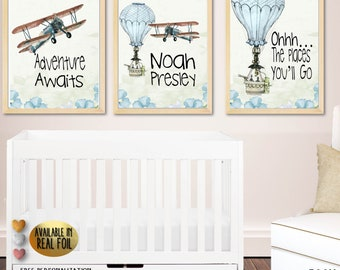 Oh the Places You'll Go, Boy Nursery Wall Art,  Baby Shower Gift, Baby Shower Art, Baby Shower Decor, Dr Seuss Quote, Dr Seuss Nursery Decor