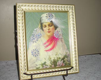 Bride Mixed Media/ Collage, Embellished and Framed
