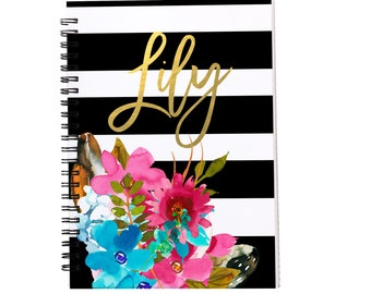 Watercolor Flowers Personalized Spiral Notebook, Journals for Women & Girls, Custom Notebooks, Lined Spiral Notebooks