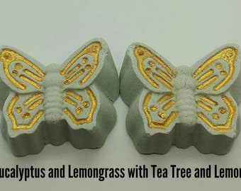 2 butterfly Eucalyptus and Lemongrass Shower Bombs with Tea Tree and Lemon Essential Oils