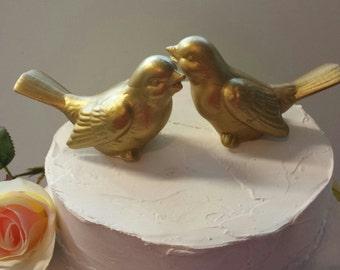Gold Wedding Cake Toppers Birds Ceramic in Gold Wedding Love Birds Home Decor Vintage Bird Design