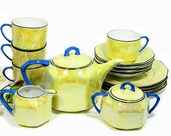 RESERVED for VP Vintage Art Deco 15 Piece Bavarian Yellow Luster Tea Set Hexagonal Teapot