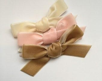 Velvet bows, mini velvet bows, mini bow headbands, baby girl headband, newborn headband, baby bows, newborn bows, velvet bow set, nylon