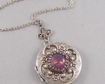 Lavender Star,Amethyst Necklace,Alexandrite Necklace,Amethyst Locket,Antique Locket,Silver Locket,Princess,Swarovski Jewelry,Valleygirldesig