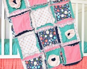 Coral Crib Bedding - Mint / Gold / Coral / Navy Blue - Floral Crib Set Rag Quilt / Bumpers / Crib Sheet / Ruffle Crib Skirt
