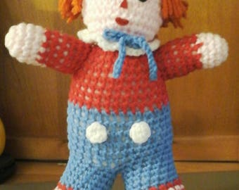Knit Raggedy Andy Doll ( Handmade )