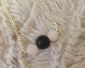 Handmade Diffuser Necklace with frosted Rose Quartz
