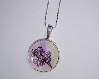 Pendant cabochon pink and purple watercolor orchids