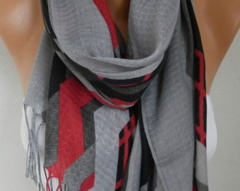 Clothing Gift Gray Cotton Scarf, Spring Fashion ,Shawl, Cowl Wrap Gift Ideas For Her, Women Fashion Accessories,Christmas Gift Women Scarves