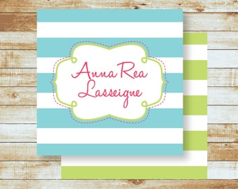 Personalized Calling Cards / Gift Tags / Kids / Anna Rea Stripes