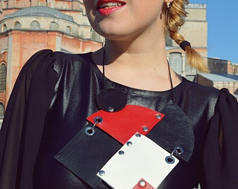 Genuine Leather Necklace, Geometrical Leather Necklace, Abstract Necklace TLJ76 by TEYXO