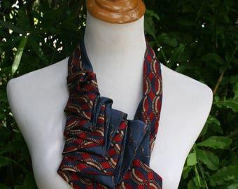 RecycledNeckties ~ Necktie Necklace - Bill Blass NAVY BLUE Print Silk Tie / RED & Navy Silk Tie - Women's Silk Necktie - Necktie Scarf