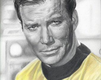 Drawing Print of William Shatner as Captain Kirk in Star Trek