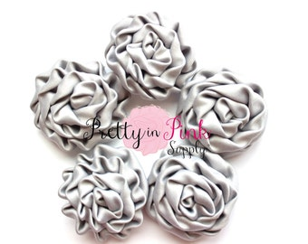 Grey MINI Isabella Collection Ruffled Rosettes- You Choose Quantity- Rolled Rosettes- Rolled Rosettes- Rosettes- Flower- Supply DIY