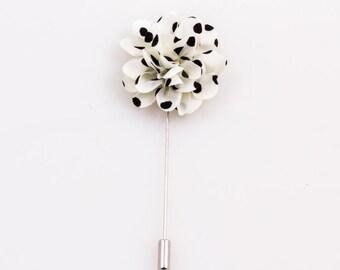 White Polka Dot Lapel Flower