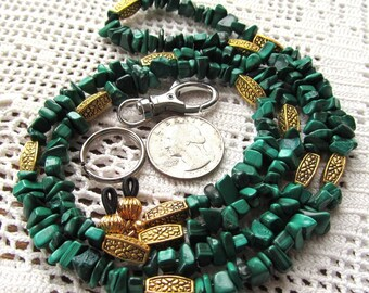 Badge or Eyeglass Lanyard in Gold Plated Pewter and Natural Green Malachite Chip Beads