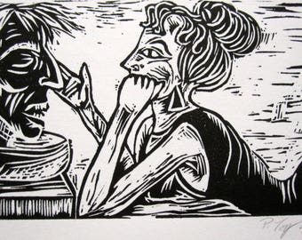 Salomé with Her Crush ~ Linocut Print *FREE SHIPPING Oscar Wilde Sunday School Black White Art Deco Schoolgirl Dance Dancer