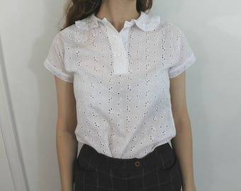 Sunday Picnic Blouse - 50s white eyelet blouse with peter pan collar, xs -small