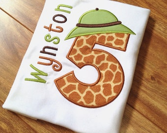 Boys Personalized Safari, Jungle Birthday Bodysuit or Shirt