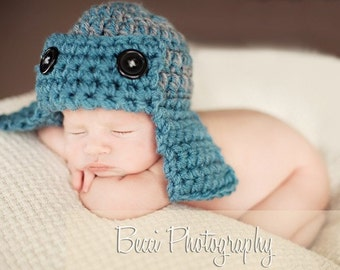 Aviator Pilot Hat Newborn Baby Photo prop in BLUE/GRAY or any color - Photography Hat