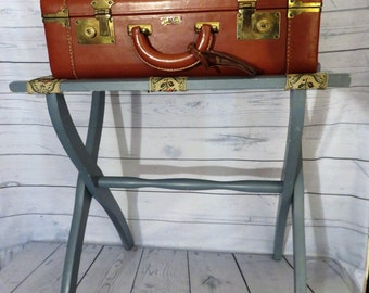 Luggage Rack with Tapestry Straps, Blue Folding Hotel Suitcase Holder, Luggage Valet, Tray Holder, Guest Bedroom Decor, Suitcase Stand