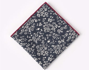 Navy Blue Floral Pocket Square  | cotton handkerchief |  gift for groom | mens handkerchief | mens pocket square | wedding accessories
