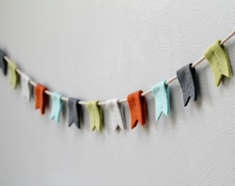 Felt Flag Bunting Boy. Nursery Banner with Notched Flags. Rustic Mountain Bunting. Modern Nursery Garland. Handmade by OrdinaryMommy on Etsy