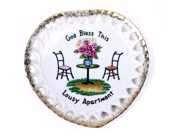 god bless this lousy apartment Decorative plate, Housewarming gift, trinket dish, apartment gift, college student gift, funny gift