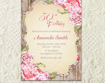 30th 40th 50th 60th 70th 80th 90th 100th Birthday Invitation For Woman, Adult Birthday Invitation, Milestone Birthday Invitation