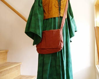 Green and Brown Woodsy Medieval Renaissance Celtic Gown with Bodice, Hood, Satchel, and Coif