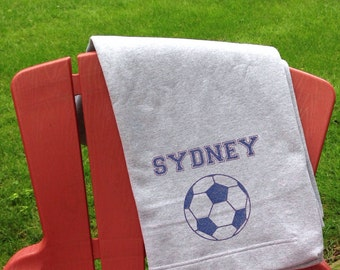 Personalized Soccer Sweatshirt Stadium Blanket - Personalized Blanket, Gift, Home Decor