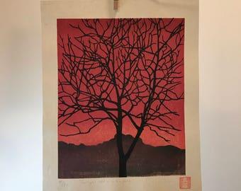 Twilight held us in her palm - original japanese waterbased woodblock print