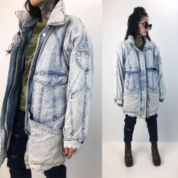 80's Light Wash Baggy Denim Coat Thick Quilted Jacket Adult Large  - Vintage Acid Wash Gray Long Denim Winter Coat THICK Streetwear Hipster