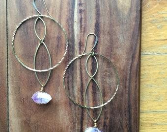 Vera cruz amethyst marquis earrings