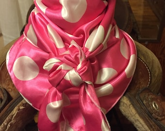 Pink and White Polka Dot Wild Rag