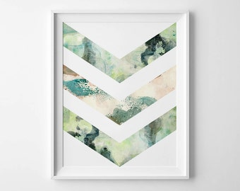Instant Download - Watercolor Chevron - 8x10 - 11x14 -  Printable Art - Geometric - Minimalist-  Wall Art - Home Decor